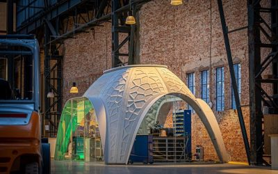 Working in an 'igloo' printed from PET waste